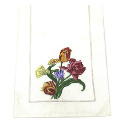Tulip Bouquet Table Art Runner - Exquisitely embroidered tulips adorn this classically elegant runner, which you'll love rolling out on your table. Dress it up for a formal dinner with your best china, or keep it simple with everyday serveware for a beautiful table at any hour.