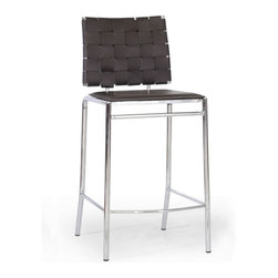 Baxton Studio - Baxton Studio Vittoria Brown Leather Modern Counter Stool (Set of 2) - Add stylish seating to your kitchen at home or use our Vittoria Modern Counter Stool as the perfect leather bar furniture or restaurant bar stool. Durable brown bonded leather on the seat is smooth and is accented with contrasting cream stitching. Conversely, the leather on the backrest is intricately woven. Light foam padding adds additional comfort. The dependable steel frame is beautifully finished with high-shine chrome plating and tipped with non-marking feet. The Vittoria Stool is fully assembled and is made in China. To clean, wipe with a damp cloth. also available (sold separately) are matching bar height stools and each is also offered in black leather.