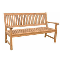 "Anderson Teak - Del-Amo 2-Seater Bench - This beautiful ""straight back styling"" has been designed for house or backyard with a lot of curve pattern, the bench will never go out of style, but quietly blends with any d_cor. We have made subtle but careful design changes to ensure excellent back support. Place a single bench under your trees; use a group of benches and chairs for entertaining. Quality built for generations. Del-Amo 3 Seater Bench is shown on the images. Cushion is optional and is being made by order."