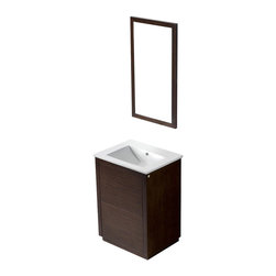 VIGO Industries - VIGO 24-inch Saba Single Bathroom Vanity, Wenge, With Mirror - The VIGO Saba Vanity features a white, ceramic sink and a wood-rimmed mirror and  includes push to open and push to close cabinet door hardware.