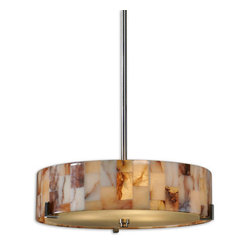 Bowers Three Light Marble Drum Pendant