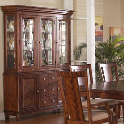 Somerton Dwelling - Somerton Dwelling Runway China Cabinet Multicolor - SOMER191 - Shop for China from Hayneedle.com! Prima vera and zebrano veneers give the Somerton Dwelling Runway China Cabinet gorgeous accents that will enhance any dining room decor. The beveled glass doors feature diamond patterns framed by zebrano borders while the mirrored back and touch lighting showcase your decor items to maximum effect. Three spacious drawers and two side cabinets with solid doors provide plenty of extra storage space. This china cabinet is the perfect finish for the Runway dining set (sold separately).About Somerton DwellingFor over 20 years Somerton Dwelling has meant quality furniture and a quality company. Its warehouses and distribution centers located both in the United States and China provide environmentally friendly manufacturing locations as well as mindful employment spaces. Quality materials such as eco-friendly rubberwood solid wood and wood veneers are used to create Somerton Dwelling pieces ... and any Somerton Dwelling furnishing you choose will make a welcome stylish addition to your home.
