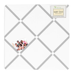Sweet Jojo Designs - Hotel White and Gray Fabric Memo Board by Sweet Jojo Designs - The Hotel White and Gray Fabric Memo Board by Sweet Jojo Designs, along with the bedding accessories.
