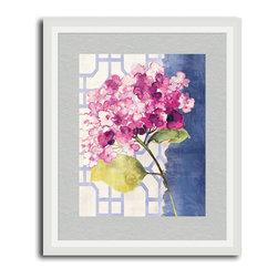MonDeDe - Antique Floral On White I - The calming blues and pinks of this sweet print work perfectly in your light bedroom, bathroom or living room. The blooming flower is so realistic, you can almost smell it from across the room.