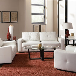 Jasmine Modern Living Room Sofa Set in Snow White - $1285.70 - Jasmine Snow White Living Room Set includes Sofa, Loveseat and Chair with  smart styling, wrapped in super-soft bonded leather in vibrant white. The contemporary shape of this sofa set enhances any space with big, plush cushions and a slightly flared design. The frame is 100% Kiln-dried premium hardwood solids.