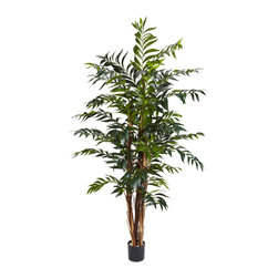 Nearly Natural - 5' Bamboo Palm Silk Tree - Standing tall at five feet high, with multiple rough edged realistic trunks and decorated with beautiful brown and tan patterns, this stylish Bamboo Palm is a great addition to any living environment. 690 lovely long tapered emerald leaves provide a thick canopy of evergreen coverage yet stay shy of being too much. Plus you can enjoy freedom from worry and upkeep as it's maintenance free.