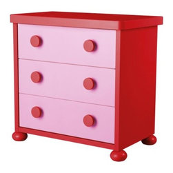 M Kjelstrup/A Östgaard - MAMMUT 3 drawer chest - 3 drawer chest, pink, red
