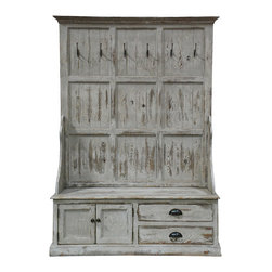 Kosas Collections - Aspen Entryway Black Storage Bench - Add a vintage touch to your home with this reclaimed pine wood storage bench. Finished in antique white with spacious drawers and decorative coat hooks,this entryway bench allows for maximum storage in the home without having to sacrifice style.