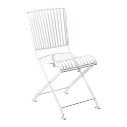 Mad Hatter Outdoor Metal Folding Chair - This outdoor metal folding chair is painted in a pristine white and is designed with a sophisticated bourgeoisie-chic style reminiscent of formal English tea parties, outdoor gardens, and sunshine. Whether you're transporting this chair to the park for a more dainty outing, or just setting up in your backyard, its retractable design allows for a quick clean-up, so that you will be on your way to your next summer event in no time.