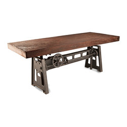 Kathy Kuo Home - Gerrit Industrial Style Rustic Pine Iron Dining Table - With enough room for friends and family, this industrial dining table is both masculine and elegant. The unique, mechanical cast iron base allows the tabletop to be adjusted to the perfect height for everyone. Naturally beautiful antique pine offers enough room for serving homemade breakfasts, buffet lunches and delicious dinners that keep guests lingering long after dessert.