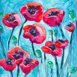 """Brazen Design Studio - Watercolor Painting - Poppy Sky Floral Art Print 11x14 - """"Poppy Sky"""" is a giclee reproduction of an original watercolour painting on Yupo by professional artist Brazen Edwards, using Epson Ultrachrome professional archival ink printed on Somerset Velvet, which has the look and feel of watercolour paper."""