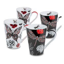 Konitz - Set of 4 Mugs - 2 Dragonfly, 2 Butterfly - The Black & Red Dragonfly and Butterfly Mugs feature stunning black-and-white graphics.