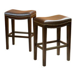Great Deal Furniture - Jaeden Backless Stools (Set of 2), Brown Leather Counter Height - The Jaeden stools combine elegance and structure. It features a well-padded seat, natural colored legs and silver colored studs curved along the seat. This stool is a perfect transitional piece for your kitchen to your living room.