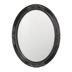 Howard Elliott - Queen Ann Antique Black Mirror - This round, wooden mirror features a traditional, vintage design at each pole and is finished with antique black leaf.
