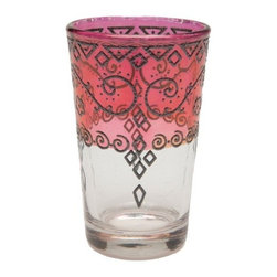 Tangier Red Tea Glasses - Moroccan drinking glasses are a charming addition for get-togethers and dinner parties. The hand-painted quality has an eclectic feel and ensures a one-of-a-kind tablescape.