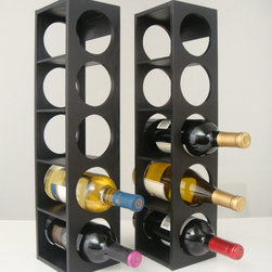 Proman Products - Rutherford Wine Rack - Black - Rutherford Wine Rack, comes in set of two units, each unit can hold 5 bottles, can be stacked on table top or put on the wall. Oak veneer, color: black