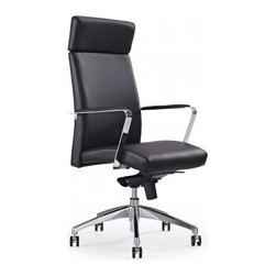 White Line Imports - Clemson Executive High Back Office Chair in Black - Features: