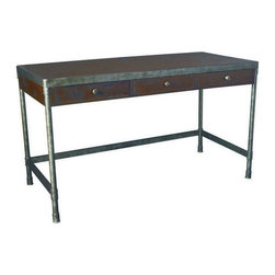 """Hammary - Hammary Structure Credenza Desk - There is beauty in simplicity. And seldom does furniture possess more effortless beauty than Hammary's new """"Structure"""" collection. We have stripped away the excesses of modern design and focused on the bare essentials to produce an 11-piece collection that pays tribute to the precision and straightforward creations of the industrial age. Inspired by the stark, utilitarian designs from the early 20th Century, these pieces are crafted from metal and birch veneers and cleverly incorporate materials such as pipes, rivets, scythed wood, wheels and metal banding. Table tops are banded in metal - an idea borrowed from heavy-duty industrial trolleys - to create a unique touch of style and to enhance durability. Meanwhile, the heavily distressed finish creates a well-worn feel that will transform any room. This versatile group includes occasional tables and home office pieces, as well a media console and a rolling desk chair. Especially interesting is the vintage artist's easel, which comes with a universal mounting plate and has been repurposed to hold a flat-screen TV. Sometimes, sophistication comes in the most simple of designs. """"Structure"""" from Hammary. - T30020-T3002032-00.  Product features: Three Drawers ; Transitional Style; Finished in Heavily Distressed Brown ; Made of Rubberwood Solids and Veneers with Metal Accents. Product includes: Desk Credenza (1). Credenza Office Desk belongs to Structure Collection by Hammary."""
