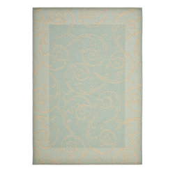 """Safavieh - Indoor/Outdoor Courtyard 2'7""""x5' Rectangle Aqua - Cream Area Rug - The Courtyard area rug Collection offers an affordable assortment of Indoor/Outdoor stylings. Courtyard features a blend of natural Aqua - Cream color. Machine Made of Polypropylene the Courtyard Collection is an intriguing compliment to any decor."""