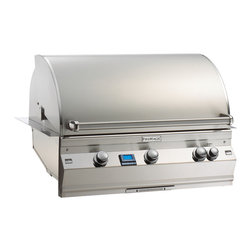 """Aurora - Aurora Built-In Grill Head 36 x 22 - Rotisserie Back Burner - This is an Island Component grill. Installation required. Sleek styling with seamless control panel. Double walled tear drop hood with warming rack. Push button 9 volt battery operated ignition system. Built in digital thermometer with meat probe. Industry exclusive cast stainless steel """"E"""" burner. Stainless steel valve manifold. Polished """"Comfort Touch"""" control knobs. Recessed rotisserie backburner with heavy duty rotisserie kit. Built in storage rack for rotisserie spit rod. Infrared burner option. Water and rain resistant constructions. Fire Magic Aurora 790 sports an amazing 792 square inches of cooking space (22x36). Three cast stainless steel E burners power independently controlled cooking zones, 113,000 BTU's in all, including a 23,000 BTU stainless steel infra-red backburner. Each cook zone has it's own control knob and electronic ignition. Fire Magic grills are the hottest grills available, this sears the meat, sealing in the natural juices so your steaks just taste : 90,000 BTU -Additional BTU with Backburner(s): 23,000 BTU -Total BTU: 113,000 BTU -Cooking Area: 36"""" x 22"""" (792 Sq. In.) -Fuel Type: Natural Gas -Style: Built In -Cooking Grates Material: Stainless Steel -Color: Stainless Steel -Width: 37 3/4"""" -Depth: 23 1/2"""" -Height: 26 3/8"""" -Weight: 266 lbs."""