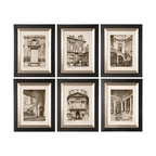 Uttermost - Paris Scene Framed Art, Set of 6 - If you can't be in Paris you can at least have some reminders of what you're missing. The beautiful architecture is what makes the city so famous. Hang these monotone prints, accented by black wooden frames with a glazed champagne inner lining, in your space to add elegance and grandeur.