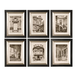 Uttermost - Paris Scene Framed Art Set of 6 - If you can't be in Paris you can at least have some reminders of what you're missing. The beautiful architecture is what makes the city so famous. Hang these monotone prints, accented by black wooden frames with a glazed champagne inner lining, in your space to add elegance and grandeur.