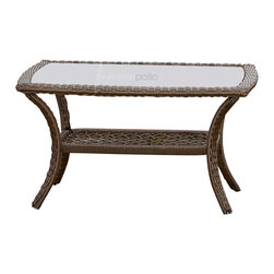 Forever Patio - Santa Monica Outdoor Patio Wicker Coffee Table - The ornate braiding and splendid curves of the Forever Patio Santa Monica Outdoor Wicker Coffee Table (SKU FP-SM-CT-CP) brings out a Renaissance flair. The Rich Cappuccino finish of the wicker is made to be UV protected and is made from high-density polyethylene (HDPE). Each strand is infused with color and UV-inhibitors, preventing it from cracking, chipping, or fading even with regular sun exposure. This patio wicker coffee table is supported by a thick-gauged, powder-coated, aluminum frame and also includes a tempered glass top.