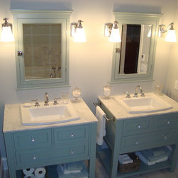 Ensuite Vanities - Custom built His & Hers Vanities with matching medicine cabinets