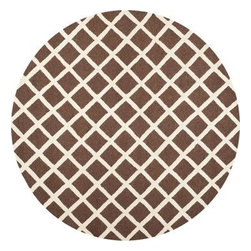 Safavieh - Safavieh Cambridge CAM135H 6' Round Dark Brown Rug - Bring classic style to your bedroom, living room, or home office with a richly-dimensional Safavieh Cambridge Rug. Artfully hand-tufted, these plush wool area rugs are crafted with plush and loop textures to highlight timeless motifs updated for today's homes in fashion colors.