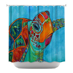 DiaNoche Designs - Seaglass Sea Turtle Shower Curtain - Sewn reinforced holes for shower curtain rings. Shower curtain rings not included. Dye Sublimation printing adheres the ink to the material for long life and durability. Machine washable. Made in USA.