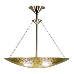 "George C. Scott Studios - Gold Spears Chandelier - This piece is decorated with radiating hand cut spears. These are fused to the glass round, and slumped in a kiln. The resulting shade has a wide range of amber, gold and greens shades. It hangs from a simple stainless hardware. Shade is 6""H. Lamp is designed to be direct wired, and uses a 60 watt recommended (100 watt max.) standard incandescent or compact fluorescent light bulb (not included)."