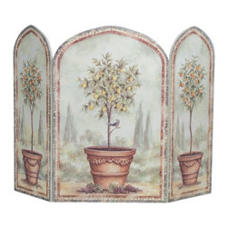 "Stupell Industries - Orange and Lemon Trees 3 Panel Decorative Fireplace Screen - Decorative and functional. Made in USA. Original Stupell art. 44 in. W x 31 in. H (Approx.). 0.5 in. ThickA fireplace screen from ""The Stupell Home decor Collection"" will be the focal point of any room and the beautiful color and design will immediately enhance your hearth and it's surroundings. Both functional and decorative, this one of kind screen will keep your fireplace out of sight when it's not in use. This piece is handcrafted from original artwork by English muralist Julie Perren. A lithograph is laminated on sturdy 1/2'' thick mdf fiberboard and the sides are hand painted. The item is already assembled in the box and ready to be put in front of the fireplace. Made in USA."