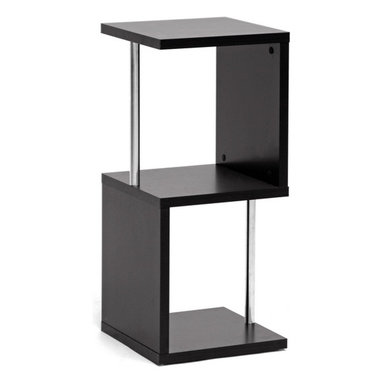 """Wholesale Interiors - Lindy 2-Tier Dark Brown Modern Display Shelf - A vertical display shelf saves space while providing a safe haven for your decor, books, memorabilia, and more. Our Lindy Designer Shelving Unit is a contemporary 2-tier storage and display option made of engineered wood, dark brown faux wood grain paper veneer, and chrome-plated steel support beams. This Malaysian creation requires assembly and should be wiped clean with a dry cloth. A 3-tier Lindy Shelf is also offered as well as a matching coffee table (each sold separately). Shelf (2) dimension: 14"""" H x 13.8"""" W x 12.75"""" D. Product Dimensions: 31.5"""" H x 13.9"""" W x 13.8"""" D."""