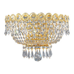 Worldwide Lighting - Worldwide Lighting W23020G12 Empire 2-Light Wall Sconce - Worldwide Lighting W23020G12 Empire 2-Light Clear Crystal Gold Finish Wall Sconce