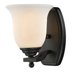 Z-Lite - Z-Lite 703-1V-MB Lagoon 1 Light Bathroom Vanity Light in Matte Black - An opulent single light vanity light in matte black finish and matte opal frosting.