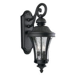 Progress Lighting - Progress Lighting P5836-71 Nottington Two-Light Top-Mount Medium Outdoor Wall - A sleek and slender scroll arm supports a stylish lantern adorned with an acorn-cap style accent in this outdoor wall lantern from the Nottington collection. Water glass panels surround two 60 watt bulbs and provide dazzling light to your outdoor areas while the outdoor rated fixture will withstand the test of time.Features: