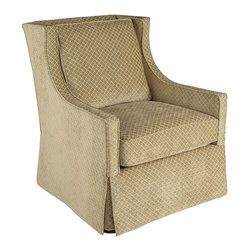 Walter- Club Chair - Modified, Swivel, Wing Chair Upholstered in Taupe Chenille with Diamond Patern