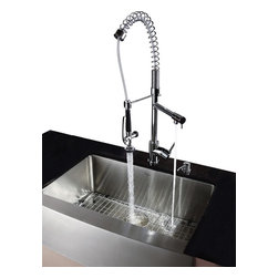 Kraus - Chrome Pull out Sprayer Kitchen Faucet and Soap Dispenser - Update the look of your kitchen with this multi-functional Kraus pull-out faucet