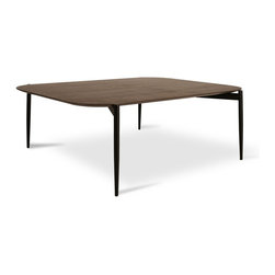 "Bryght - Alec Walnut 16"" High Coffee Table - Accentuate your space with the Alec coffee table. A veneered top fuses with powder coated metal legs to offer a crisp urban feel."