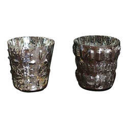 Park Hill Collection - Embossed Mercury Glass Votive Holder, Set of 2 - The antique silver mercury glass finish on this set of 2  candle holders casts a soft flickering glow, creating the perfect ambiance.