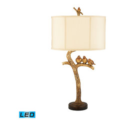 Dimond Lighting - Three Bird Light LED 1-Light LED Table Lamp in Gold Leaf and Black - Dimond Lighting 93-052-LED Three Bird Light 1-Light Table Lamp in Gold Leaf and Black