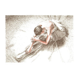 Relaxing Dancer, Original, Drawing - This original drawing is inspired by the art of ballet dancers. i adore dancing and transform my fascination to paintings and drawings. my aim is to make a destinction to artists who push their limits to express the beauty of movement.  as for the technique, the drawing is done in pen and ink with the method of cross-hatching. to accomplish the picture this way means about fifteen hours of hard work and concentration as no line cannot be undone once it's drawn. therefor the price has to reflect the demanding creative process. the drawing is done on a quality heavyweight watercolor paper (250/m2). it is signed, titled and dated on the back in pencil. the artwork will be shipped in a protective cello sleeve with cardboard backing and wrapped in a bubble wrap to ensure it arrives in a perfect state.
