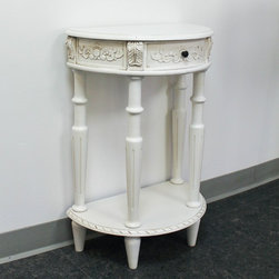 International Caravan - International Caravan Antique White Carved Hardwood Half Moon 2-tier Wall Table - This half-moon wall table is the perfect garnish to a traditionally decorated living room. The carved detailing and antique-white finish will add elegance to your home,and because it has two levels,you can display twice as many ornaments.