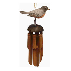 Songbird Essentials - Robin Bamboo Windchime - Songbird Essentials' bamboo windchimes offer great color and soothing sound to enhance your outdoor living experience. Entirely hand carved and hand painted using all natural bamboo and albesia wood.