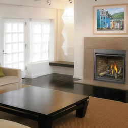 Napoleon HDX40 Series 41'' x 41'' DV Gas Fireplace System - Inspired by traditional masonry details and created with Napoleon's state-of-the-art gas fireplace technology, the deluxe HDX40 Gas Fireplace offers the ultimate in performance and design. The clean face front allows a full view of the impressive 40″ wide firebox with your choice of either fine detailed PHAZER® logs and charcoal embers or a river rock ember bed. The exclusive NIGHT LIGHT™ accents the firebox even when the fireplace is off. A perfect investment for your lifestyle and your home.