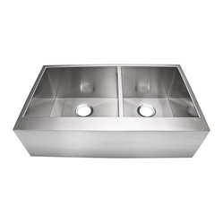 "Lavello - Stainless Farmhouse Sink 33"" - The traditional farmhouse sink gets a clean, modern look in this sleek, rectangular, stainless steel model with perfect corners and a flat front apron. The functionality of the traditional deep bowl is enhanced with thoughtful features like a center divider that's slightly shorter than the sides, giving you the convenience of a double sink while making it easier for long-handled pots and pans to fit."