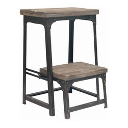 "Industria Step Stool - Industria Step Stool Metal and Wood Adjustable Decorative Step Stool in Reclaimed Wood/Metal Finish end of May Delivery 15.75""W x 15.75""D x 21.75""Ht."