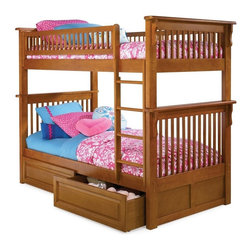 Atlantic Furniture - Colorado Twin Over Twin Bunk Bed / Raised Panel Drawers / Caramel Latte - Perfect for small kids bedrooms, this space-saving bunk bed comes with guard Rails match panel design in 5-step high build finish, and raised panel drawers.