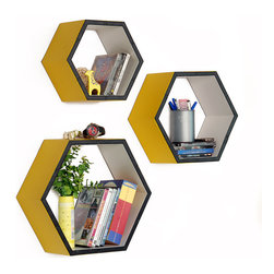 Blancho Bedding - Spring BurgeonHexagon Leather Wall Shelf / Bookshelf / Floating Shelf Set of 3 - These beautifully Hexagonal Shaped Wall Shelves display the art of woodworking and add a refreshing element to your home. Versatile in design, these leather wall shelves come in various colors and patterns. These elegant pieces of wall decor can be used for various purposes. It is ideal for displaying keepsakes, books, CDs, photo frames and so much more. Install as shown or you may separate the shelves to create a layout that suits your taste and your style. They spice up your home's decor, and create a multifunctional storage unit for all around your home.  Each box serves as a practical shelf, as well as a great wall decoration.