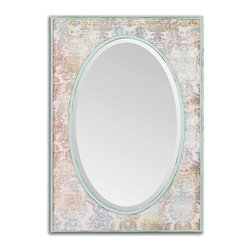 "Uttermost - Lucilla Vintage Floral Print Rectangular Mirror - Frame Dimensions: 25.25""W X 35""H X 1.75""D; Mirror Dimensions: 18.375""W X28""H; Finish: Vintage Floral Print; Material: MDFNo; Beveled: ; Shape: Rectangular; Weight: 17; Included: Brackets, Ready to Hang Vertically or Horizontally"